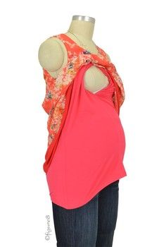 Spring Maternity Cathay Nursing Blouse in Coral by Spring Maternity with free shipping $42