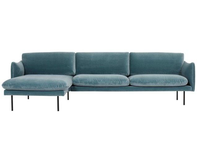 Divano Con Chaise Longue In Velluto Moby In 2020 Sofa Furniture
