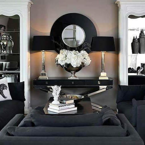 The beautiful monochrome Knightsbridge range consists of the beautiful black sofas, white mirrored display cases. Very classic range available from www.hanaleyinteriors.co.uk