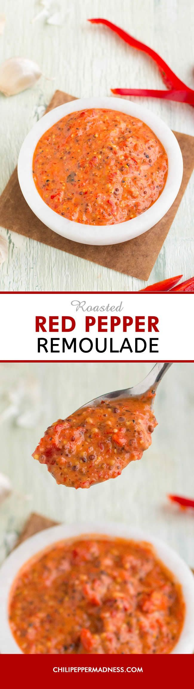 Roasted Red Pepper Remoulade - A quick and easy Louisiana-style remoulade recipe made with rich roasted red peppers, perfect for crab cakes, seafood, vegetables, or drizzling over po boy sandwiches.