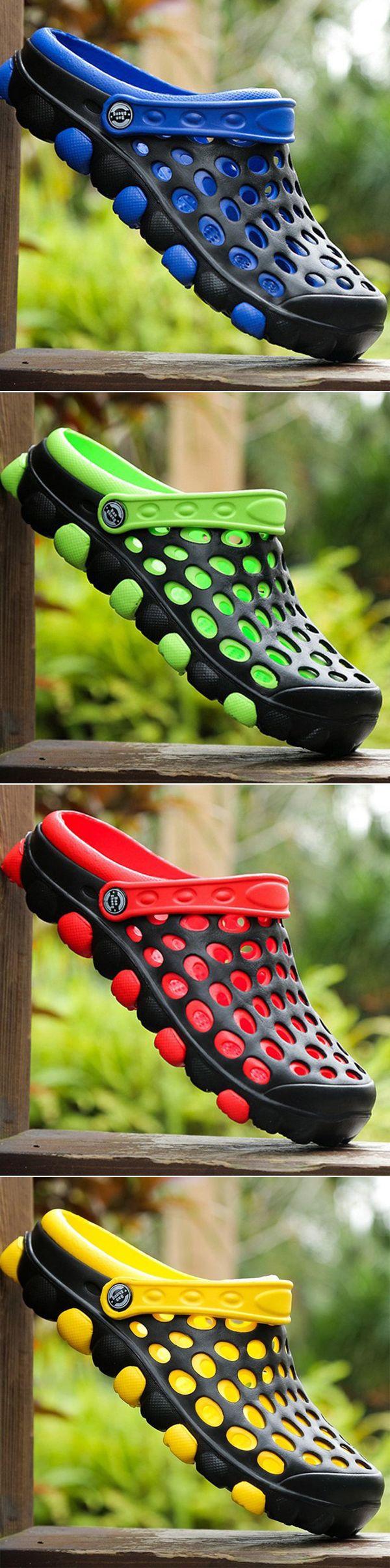 Men Hole Breathable Beach Sandals Slip On Waterproof Garden Shoes