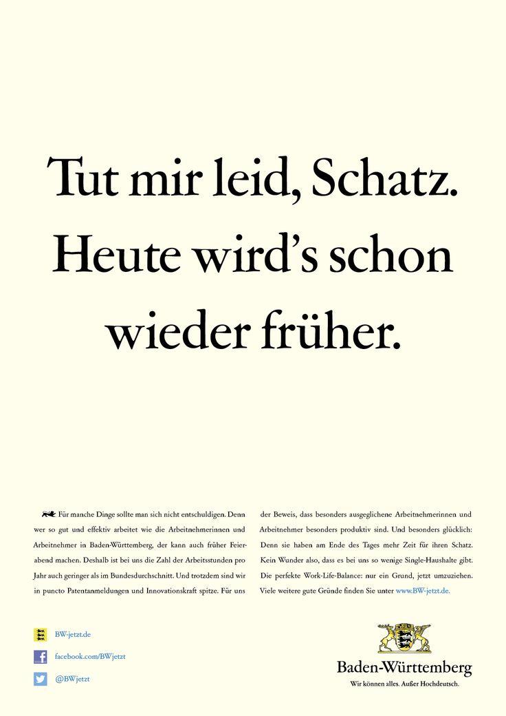 Für manche Dinge sollte man sich nicht entschuldigen. Denn wer so gut und effektiv arbeitet wie die Arbeitnehmerinnen und Arbeitnehmer in Baden-Württemberg, der kann auch früher Feierabend machen. Die perfekte Work-Life-Balance: nur ein Grund, jetzt umzuziehen.