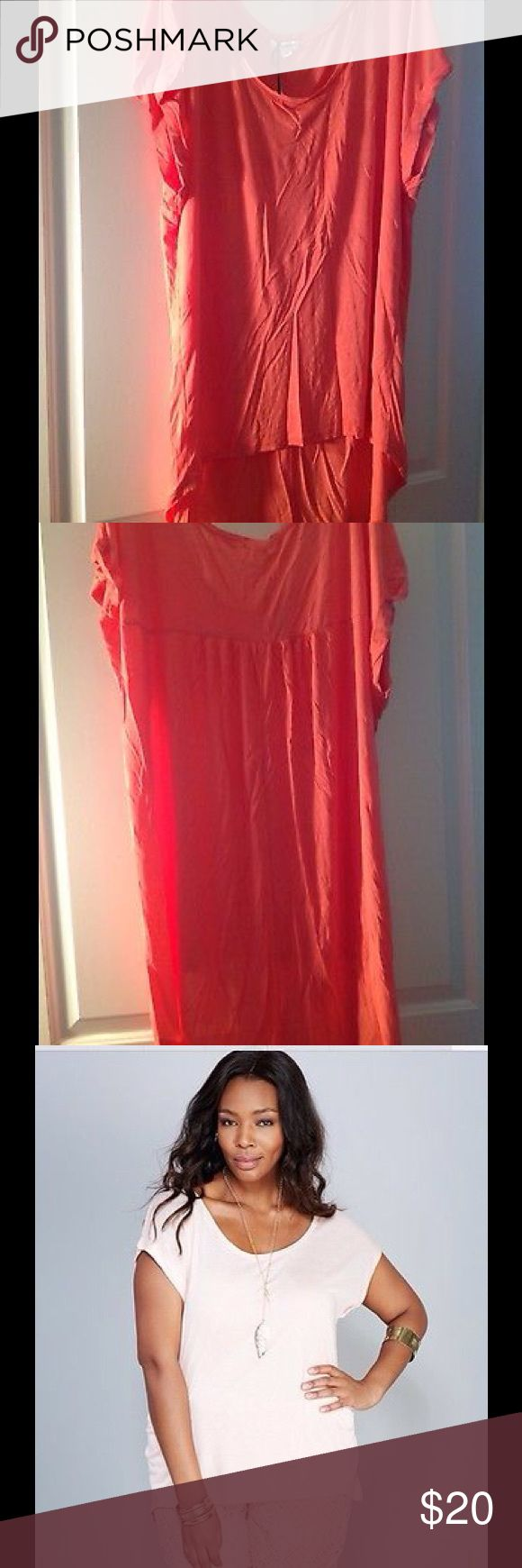 WET SEAL Coral High-Low Hem Shirt/Tee ~ 3X ~ NWT This is a very nice top. THIS AUCTION COLOR IS CORAL! (See last pictures for stock photo of shirt; first pics are the color that you'll actually receive.)  *has an extreme high-low hemline *soft knit body made of 100% Rayon  *roll cuff (short) sleeves *relaxed fit *scoop neckline, can be worn off one shoulder ( depending on if you have small shoulders & the neckline is big enough) *unlined *all Rayon Wet Seal Tops Tees - Short Sleeve