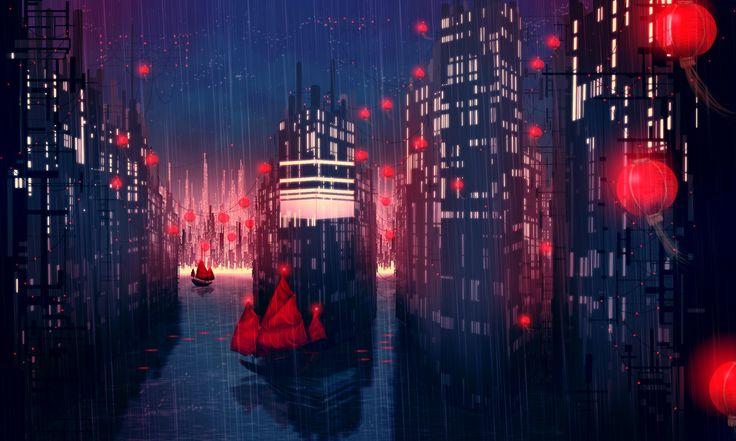 Лодки, красные фонари обои, картинки, фото