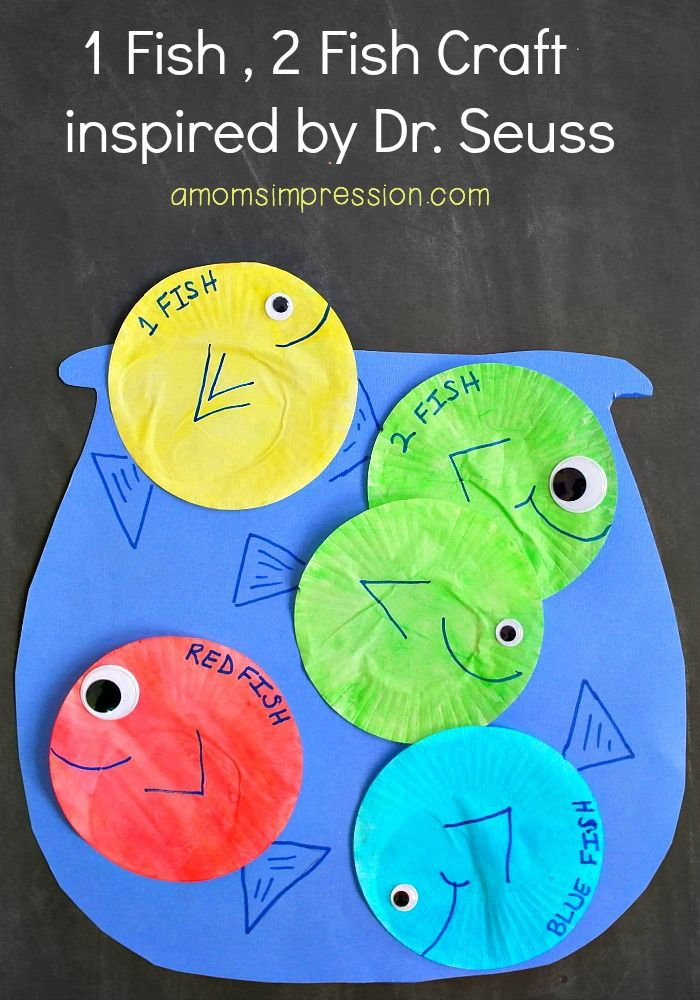 This adorable 1 Fish 2 Fish Red Fish Blue Fish Craft is perfect for young kids to celebrate Dr.Seuss Day (Read Across America Day) on March 2.