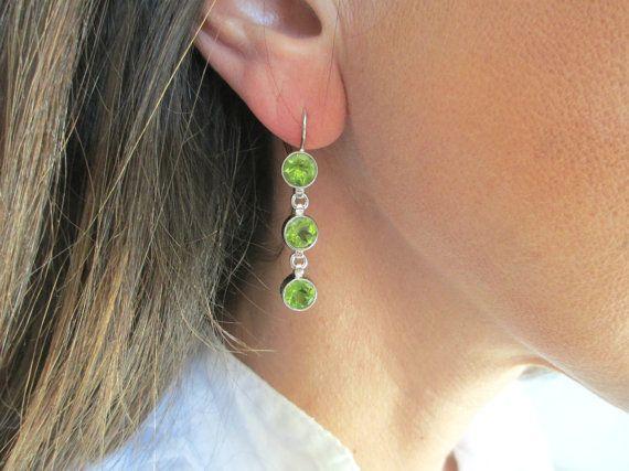 Peridot drop earrings in sterling silver Olive green long dangle earrings Triple drop earrings Boho chic jewelry Green stone earrings