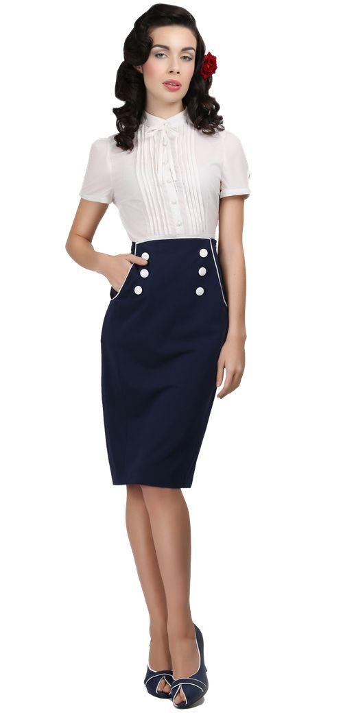 The Sailor Skirt - Lady Vintage - Söta Klänningar, Blusar, Nyproducerat vintagemode, vintage, second hand, 50-tal, 60-tal och annat vackert!