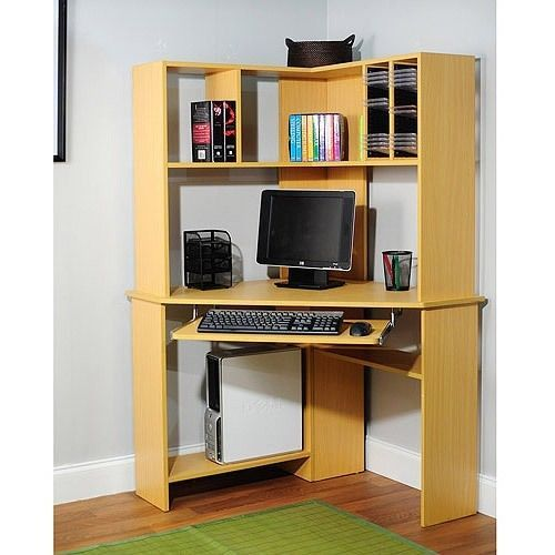 Corner Computer Desk Hutch Modern Dorm Office Home Storage CD DVD Book Natural | eBay  Remove keyboard, tension rod with small curtain for bottom storage