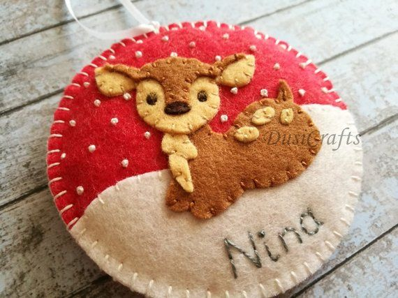 Baby deer ornament Wool felt Deer ornaments with Embroidered Name Fawn ornament Personalized Christmas ornament