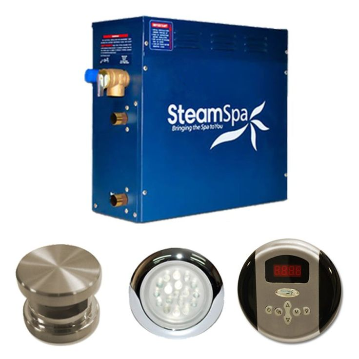 SteamSpa IN450 Indulgence 4.5 kW Steam Generator Package Brushed Nickel Steam Showers Steam Generators Residential