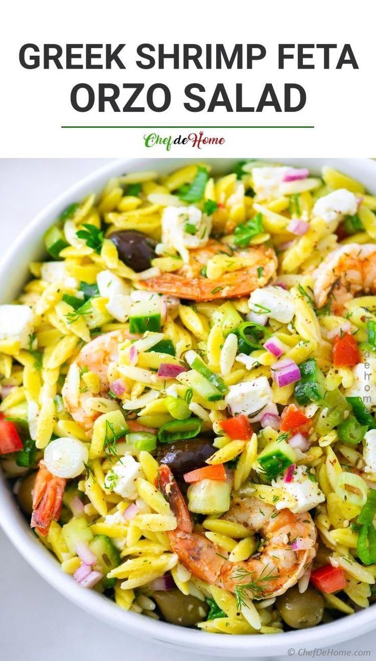 Griechischer Orzo-Nudelsalat mit gegrillten Garnelen Lecker gegrillte Za'atar-Garnelen, …   – Cooking Inspiration