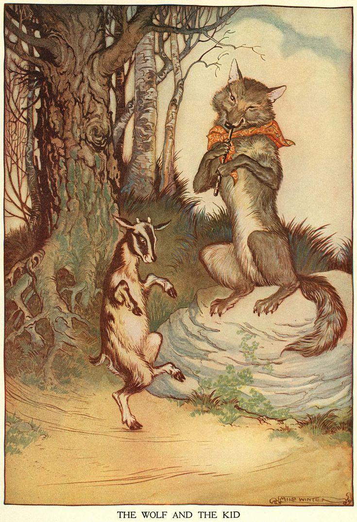 "Milo Winter: ""The Wolf and the Kid"".   Milo Winter (August 7, 1888-August 15, 1956) was an illustrator known for his work illustrating classic folk and fairy tales.  I first encountered his work in an old set of Childcraft volumes, of which Milo was the art editor from 1947-1949."