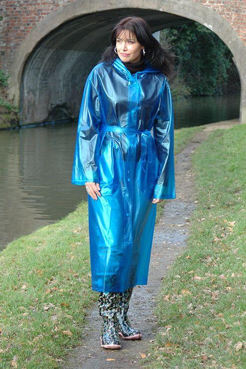 Blue Transparent Raincoat