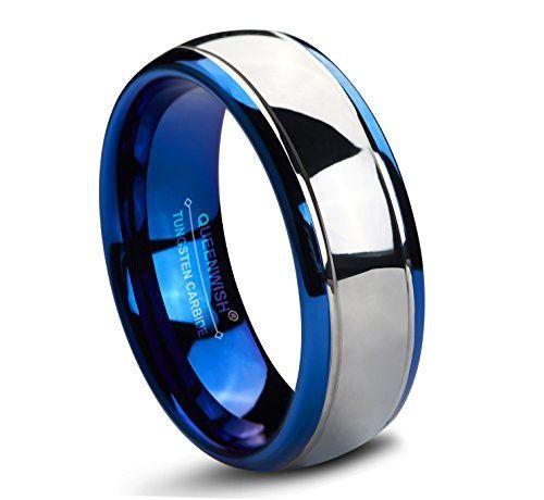 Queenwish 8mm Tungsten Carbide Wedding Band Blue Gold Silver Dome Gunmetal Bridal Ring Men Jewelry