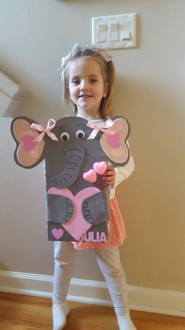 Elephant valentine card box made with cereal box, duct tape, foam and felt pieces.