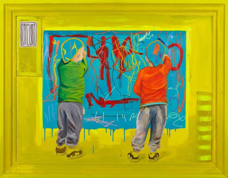 sztuka malarstwo art youngart streetart graffiti Brewki, 137x107 cm razem z ramą, akryl, olej na płótnie, 2016