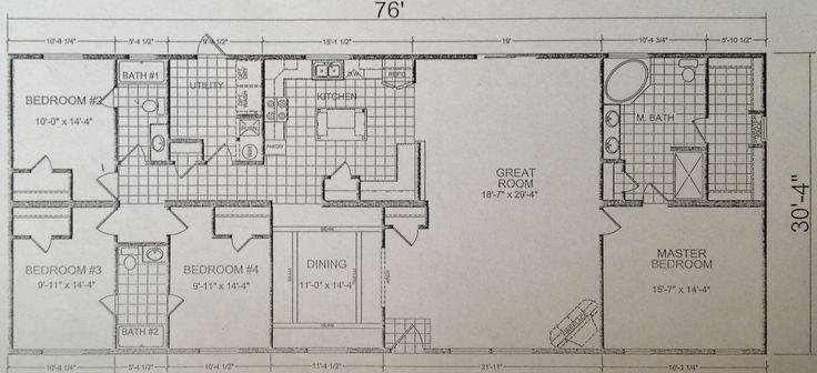 Triple Wide Mobile Home Floor Plans | Model 249 - Calvin Klein Homes - Calvin Klein Homes