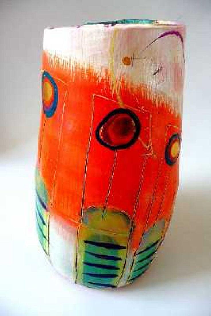 Linda StylesLinda Style, Ceramics Pottery, Stripes Stem, Tall Pots, Ceramics Can, Inspiration Ceramics, Blue Stripes, Art Ceramics, Lindamarieart 12