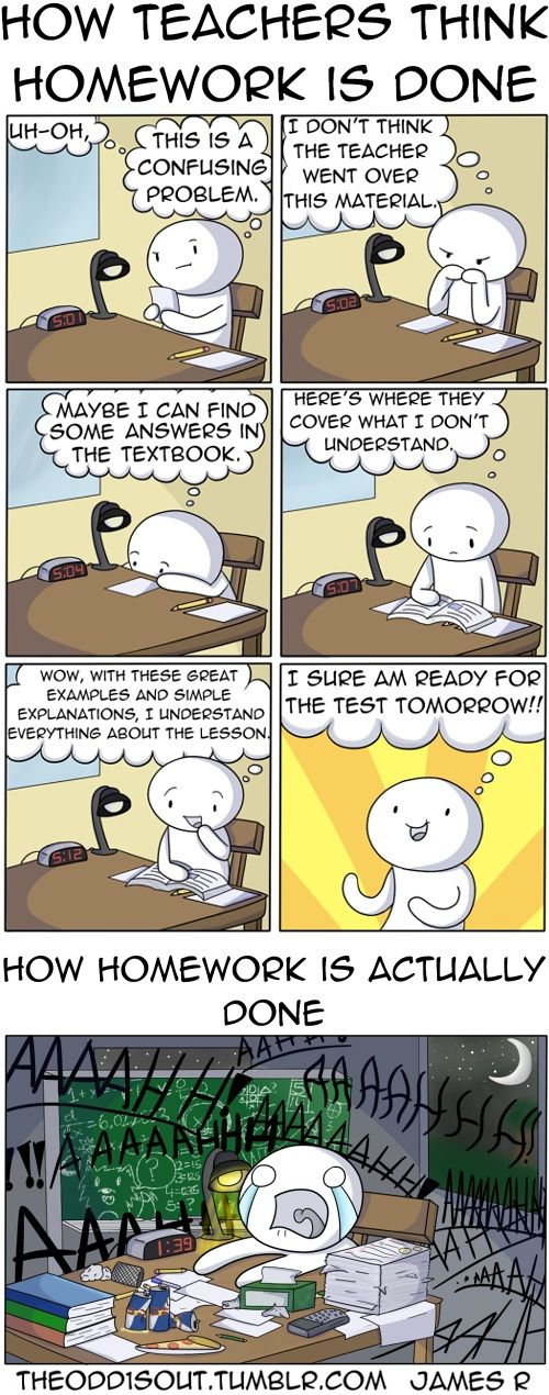 "Homework - Teachers vs Reality -- thankfully, I don't have too much of this problem because I'm homeschooled. :) But I do have days like ""reality."""