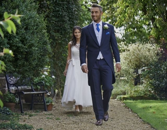 Our navy mohair tailcoat, Forton. #peterposh #wedding #groom #weddingsuits #bluesuit #bowtie #groomsmen