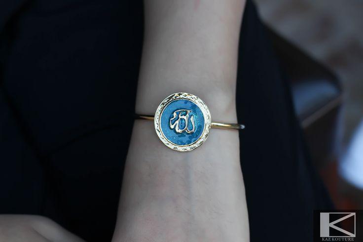 "KAZ KOUTURE: Blue Allah ""God"" Bangle #kazkouture #fashion #bracelet #goldplated #jewelry #accessories #armcandy #princess #fashionista #turkish #arabiccalligraphy #muslimfashion #abaya #hijabi #hijab #arabfashion #scarf #muslim"