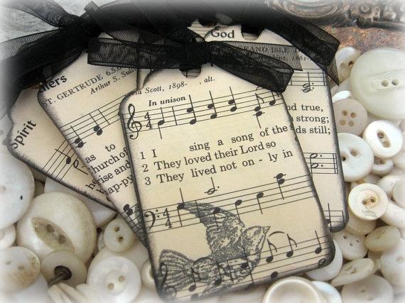 vintage hymnal tags