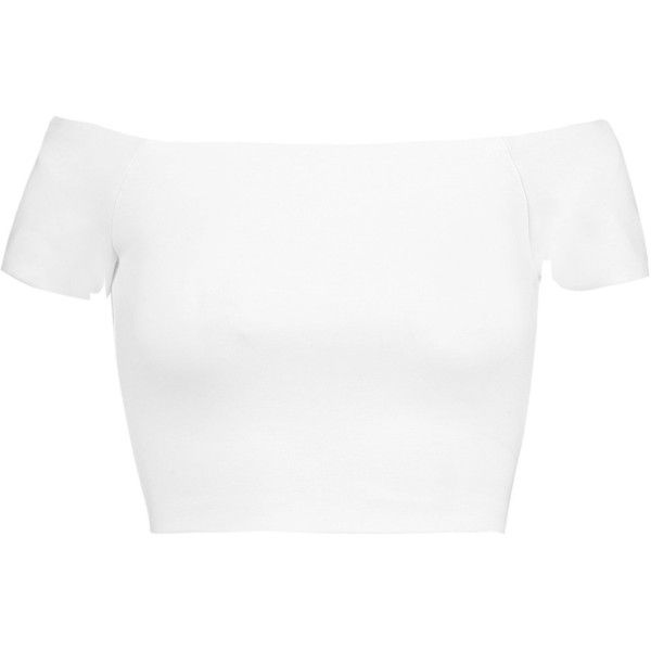 Alice + Olivia Gracelyn off-the-shoulder jersey top (385 BRL) ❤ liked on Polyvore featuring tops, shirts, crop top, crop, white, off shoulder crop top, shirt crop top, zipper crop top, white shirts and crop shirt