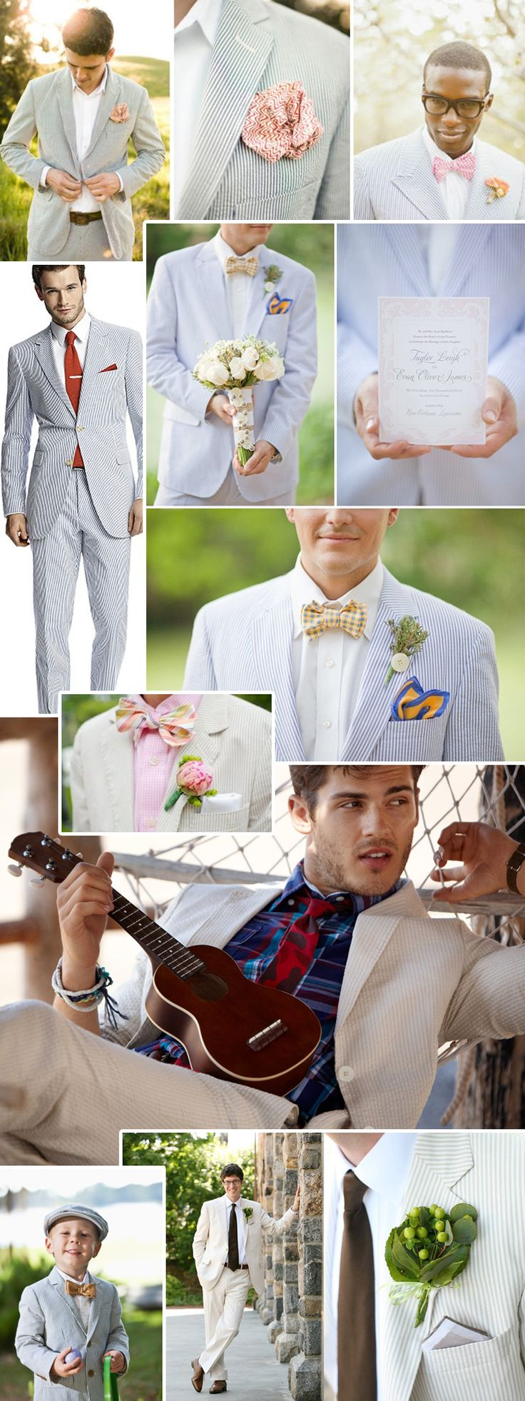 hot hot HOT! Spring Wedding Trend for Men: Seersucker Suits & Pastel Ties
