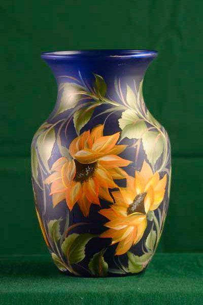 HandPainted Glass Rose Vases / Decorative Lamp Vase by ArteeVita