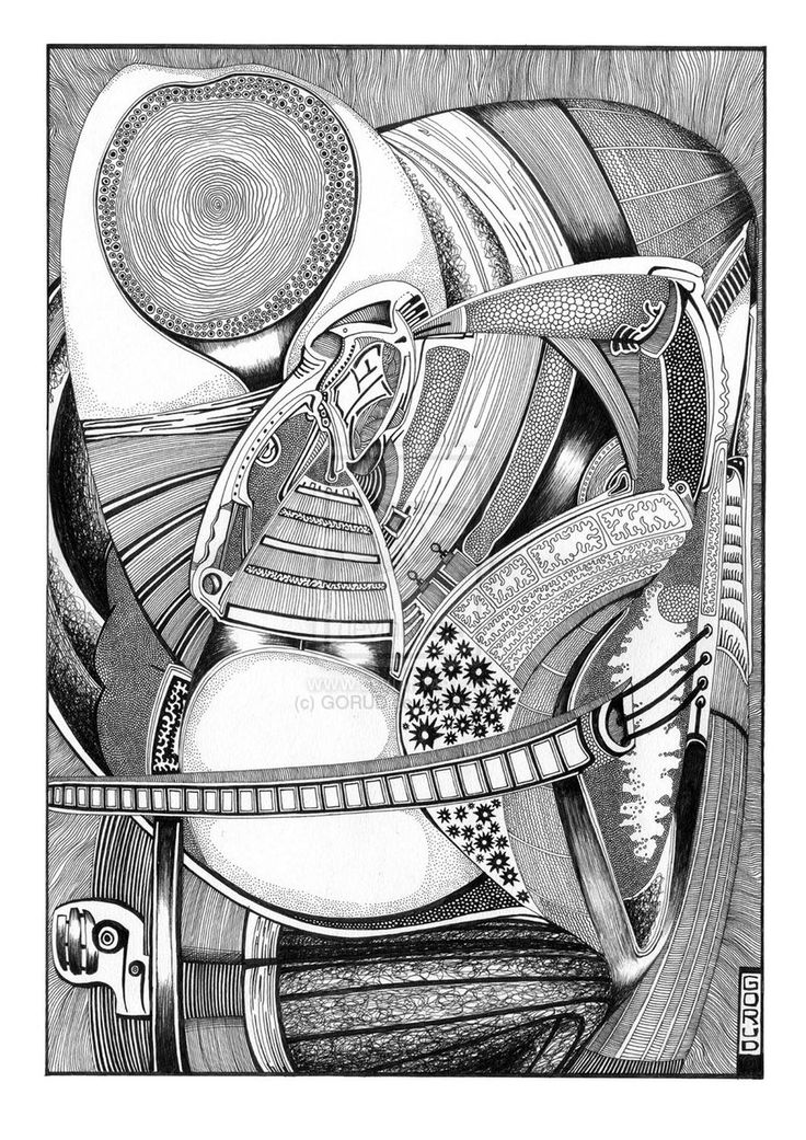 Lap (1999) by ~GORUD on deviantART  One of these days, I will have to ask the artist how long it takes to ink one of these things. So intricate and complicated, were I to attempt something like this I would have to go into it thinking it was a kind of meditation.