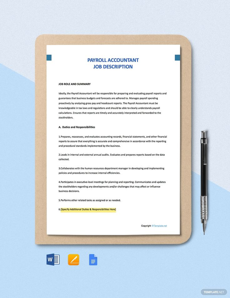 Free Payroll Accountant Job Description Template AD, ,