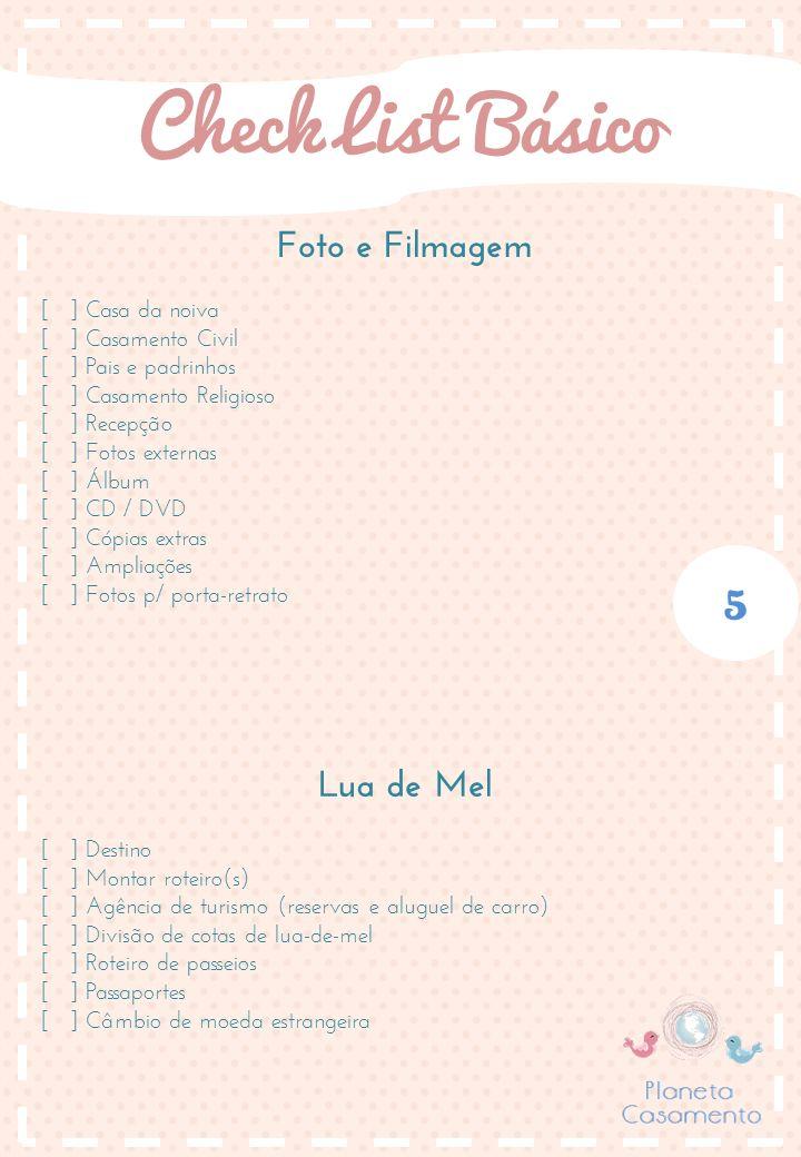 Página 05/05 - Check List Básico Casamento - by Planeta Casamento - http://www.planetacasorio.com.br/