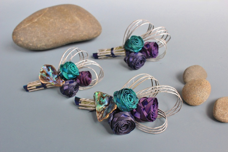 Three bud buttonholes. These are a smaller sized buttonhole.  www.flaxation.co.nz