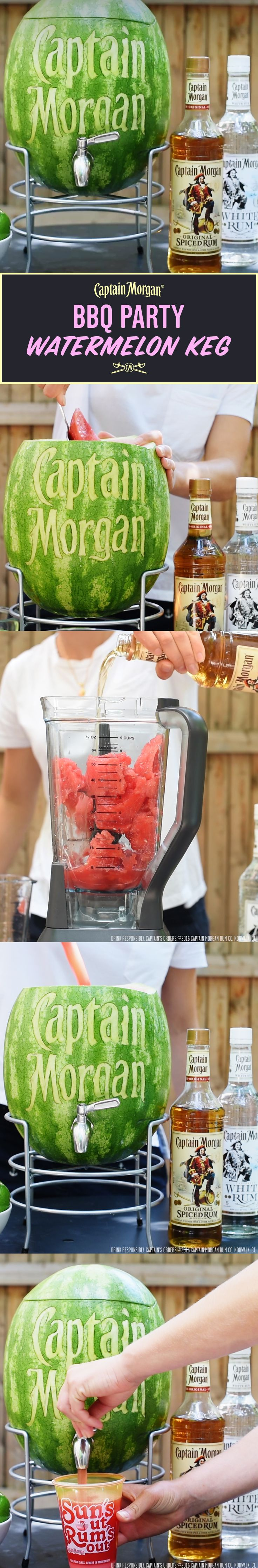 Captain's Watermelon Keg, the perfect BBQ accessory. Recipe: 1.5 oz Captain Morgan Original Spiced Rum 3 oz Watermelon juice 0.5 oz lime juice 0.5 oz sugar syrup  Get more rum recipes at https://us.captainmorgan.com/rum-cocktails/?utm_source=pinterest&utm_medium=social&utm_term=bbq&utm_content=long_island&utm_campaign=recipe