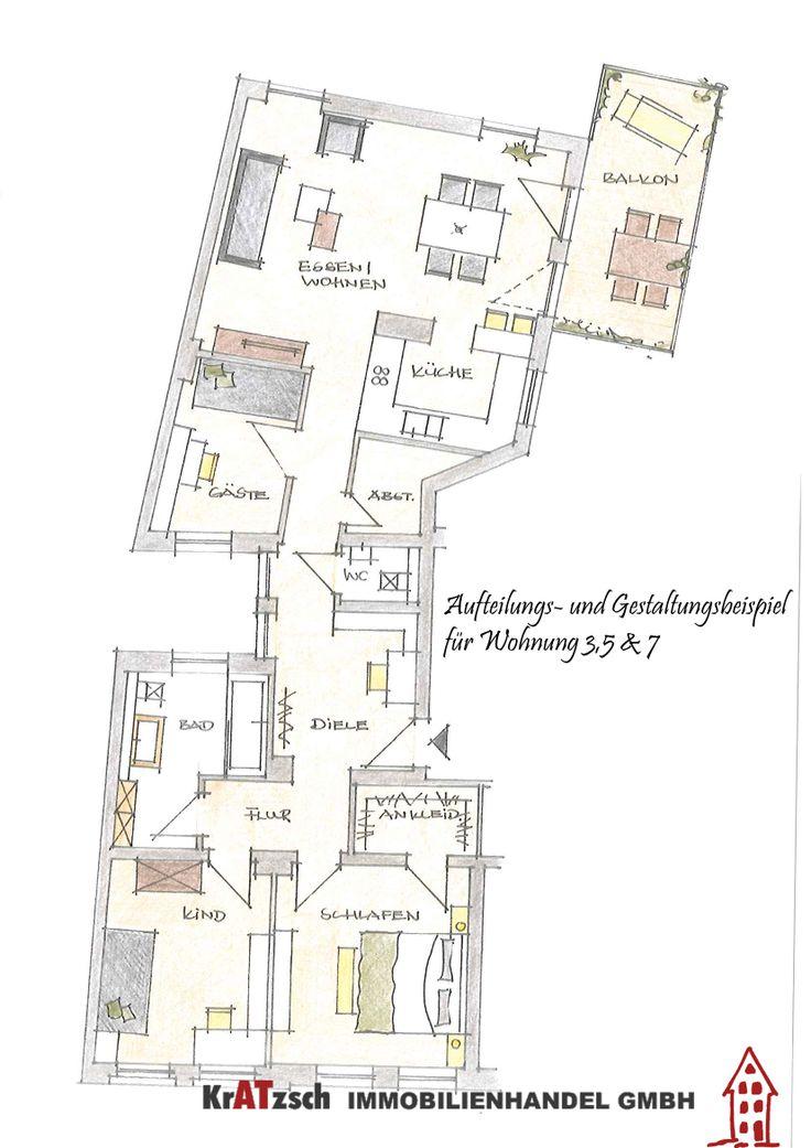 Hier zu sehen ist ein Gestaltungsvorschlag für die Wohnungen auf der linken Hausseite. Sie werden eine Größe von ca. 115m² haben.