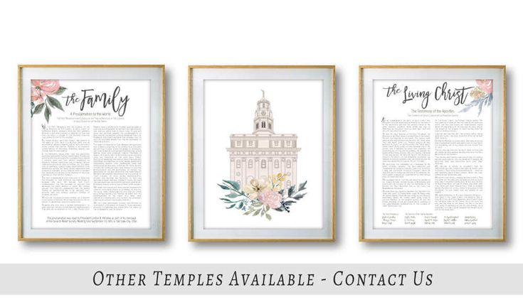 Nauvoo Temple LDS The Family Proclamation The Living Christ Set of 3 LDS Flower Cream Blush Digital Print Art Printable Art Wall Decor by LineDesignArts on Etsy