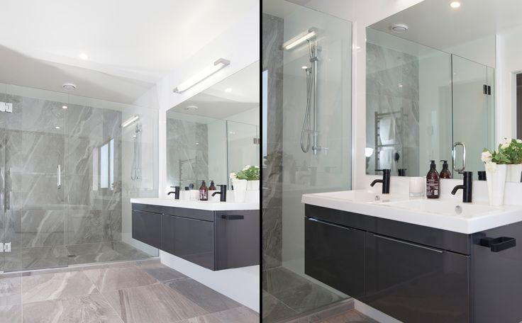A classy beautifully tiled shower and bathroom area.
