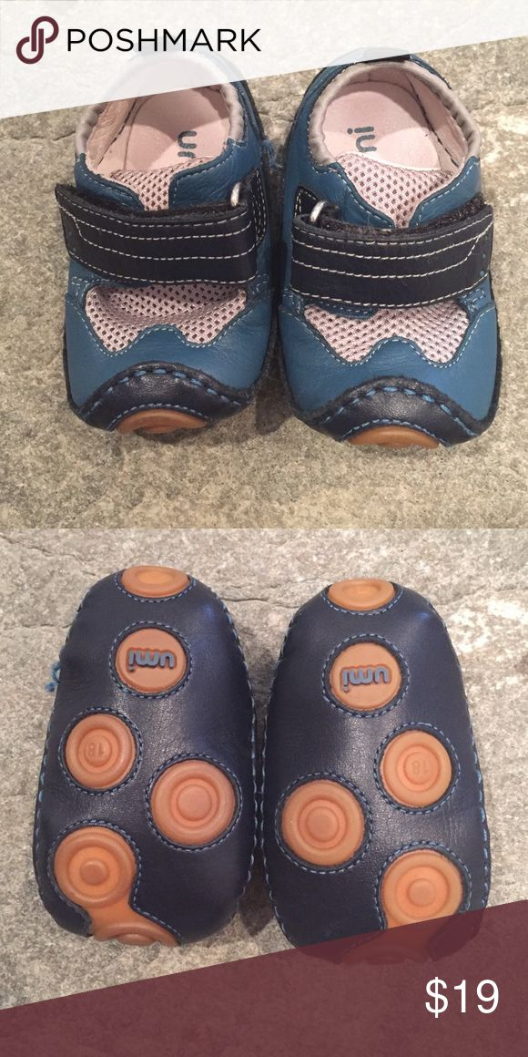 Leather Rubber-Soled Baby Shoes Blue Leather Velcro rubber soles baby shoes.  In excellent like new condition!  Made in Vietnam. Umi Shoes Baby & Walker