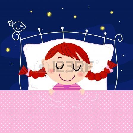 Sleeping sweet girl. Vector cartoon Illustration