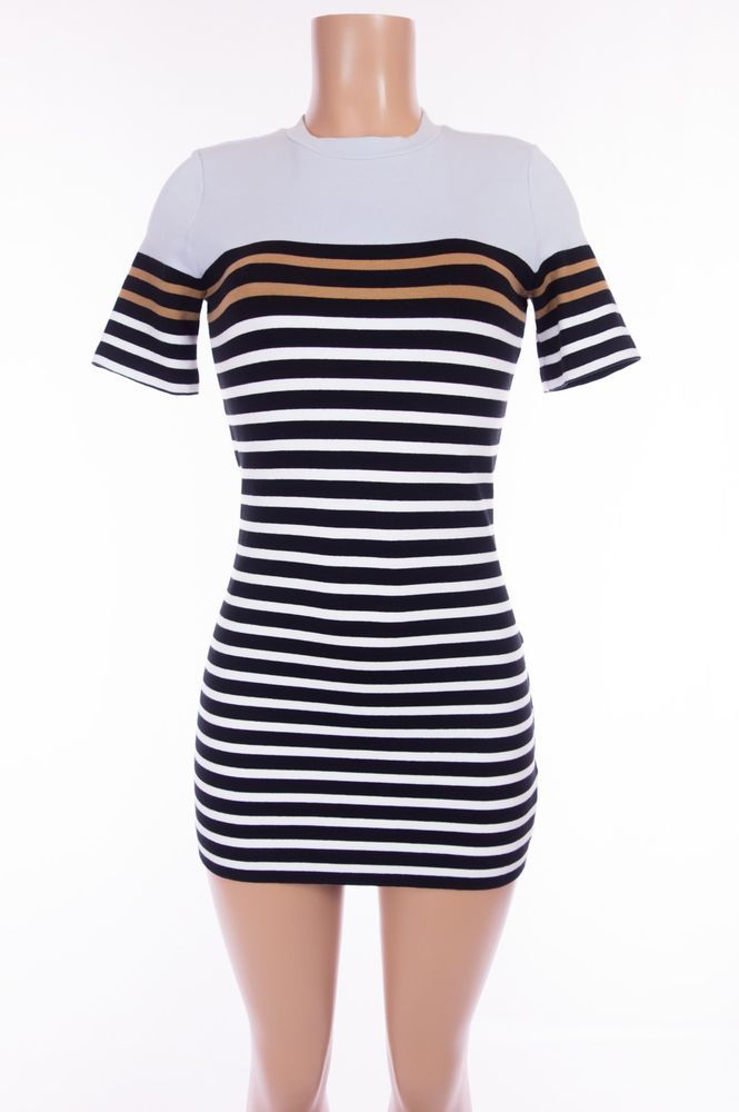 7c07b4f88f T ALEXANDER WANG Sweater Dress M Form Fit Bodycon Multi Color Striped SS   AlexanderWang  SweaterDress  Casual