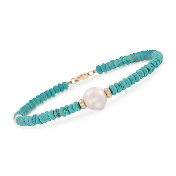 "Ross-Simons - 9-10mm Cultured Pearl and Turquoise Bead Bracelet in 14kt Yellow Gold. 7.25"" - #812644"