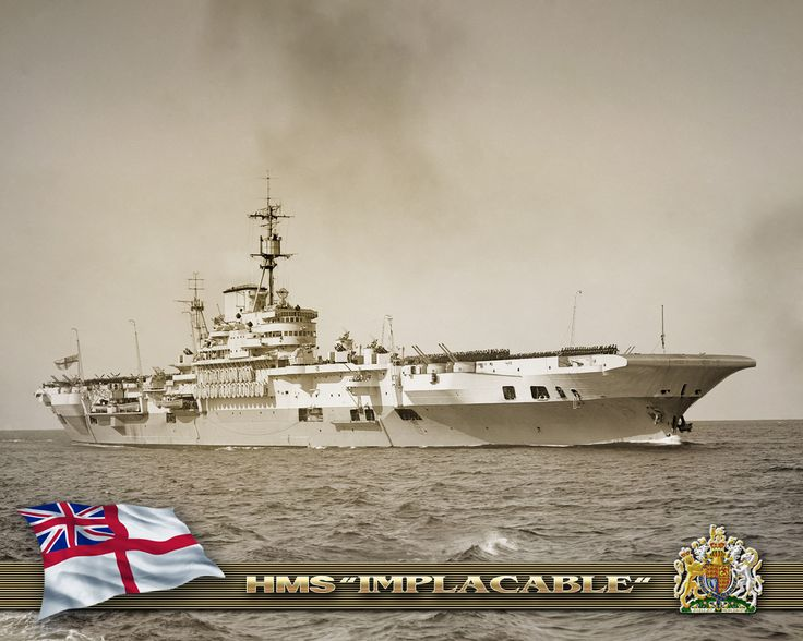 HMS  Implacable (1805) leading ship of the British Royal Navy built during World War II, Dec 10, 1942.