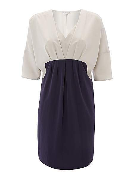 NEW This Season Mary Portas Grey Purple Colour Block 2 in 1 Dress In Store £89