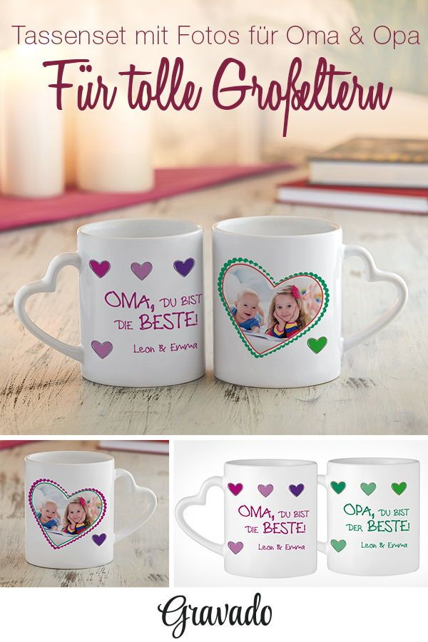 Bedruckte Tasse 2er Set - Fototasse Beste Oma & Bester Opa - Herz ...