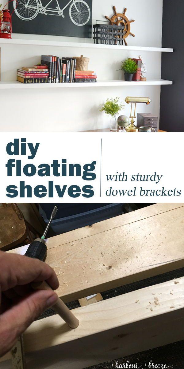 Diy Floating Wood Shelf With Dowels In 2020 Diy Wall Shelves