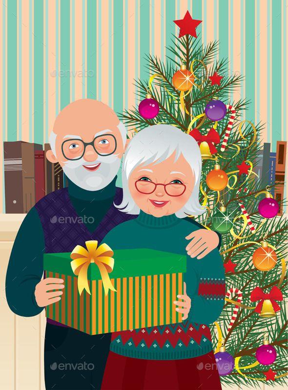 Elderly Couple Celebrating Christmas