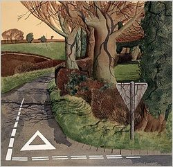 "Simon Palmer. T-junction in Spring. Numbered and signed by the artist limited edition of 50, image size 19"" x 19"", £198"