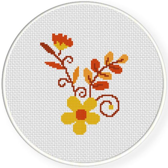FREE for September 11th 2015 Only - Autumn Flowers Cross Stitch Pattern