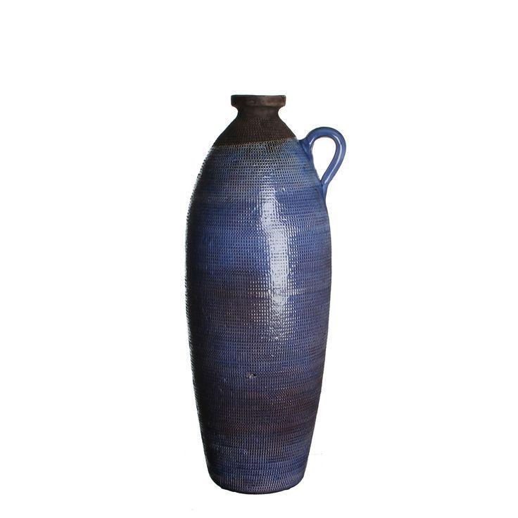 POTTEN EN VAZEN: Lange stijlvolle flesvaas in een diepblauwe kleur