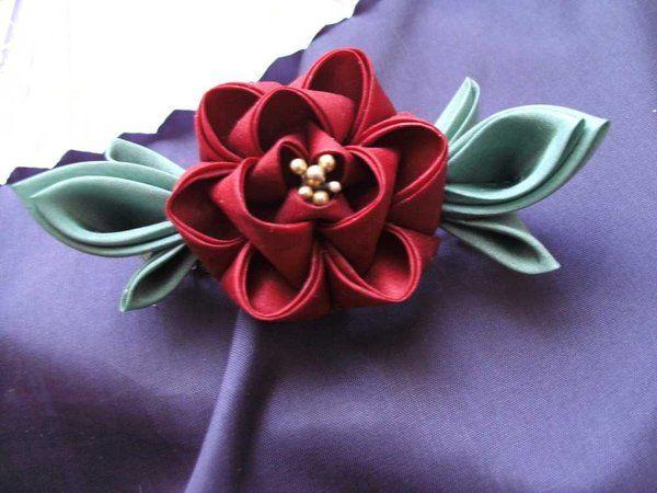 Peony kanzashi barrette by elblack.deviantart.com on @deviantART